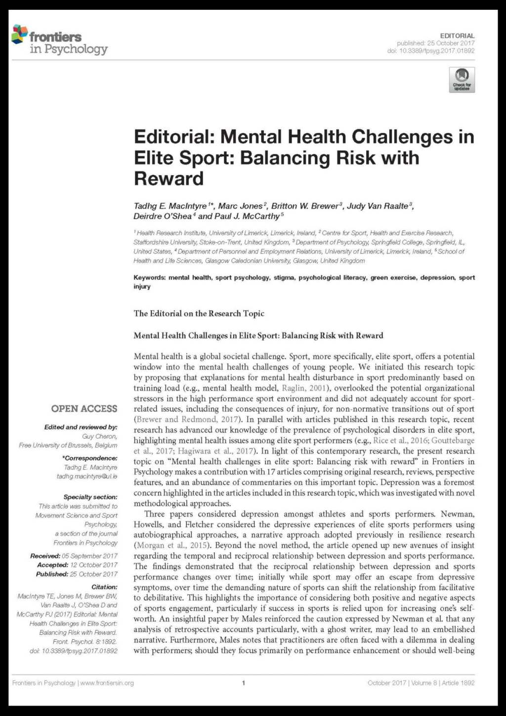Publication Mental Health Challenges In Elite Sport Editorial