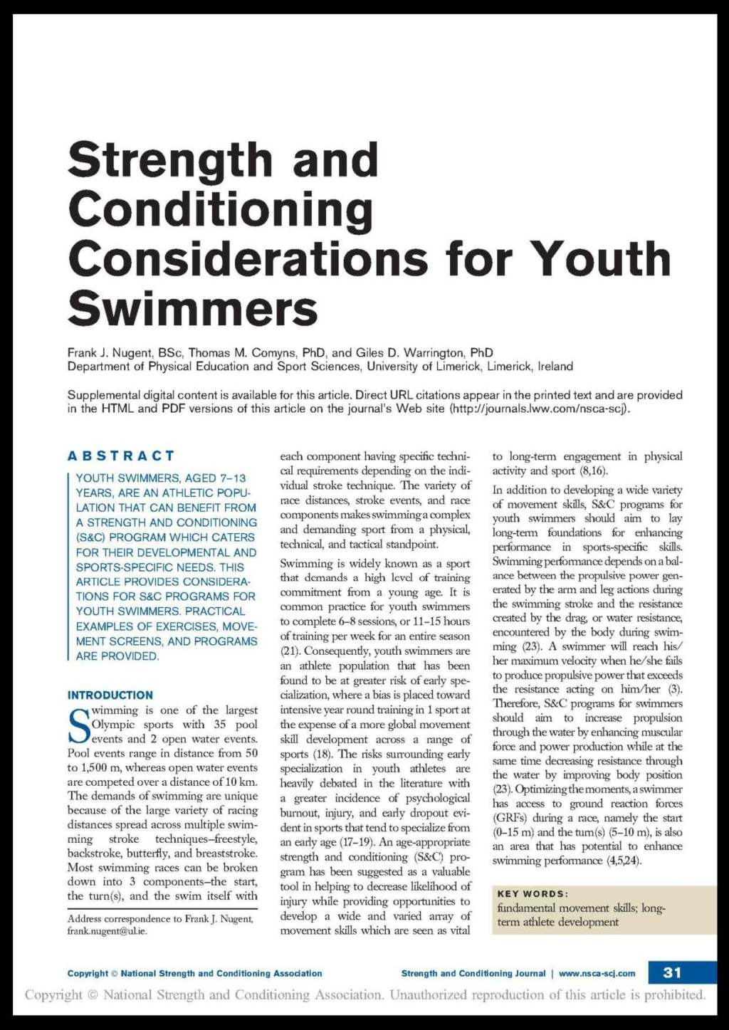 Publication: Strength & Conditioning Considerations for Youth