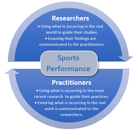 Visual representation of the sports performance researcher and practitioner tandem