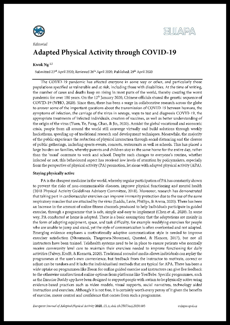 Ng K. 2020. Adapted Physical Activity through COVID-19